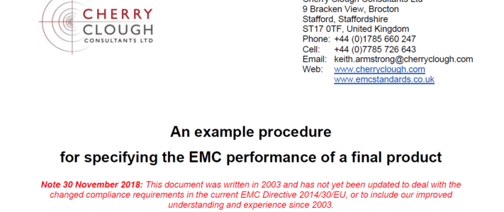 Specifying the EMC performance of a final product image #1