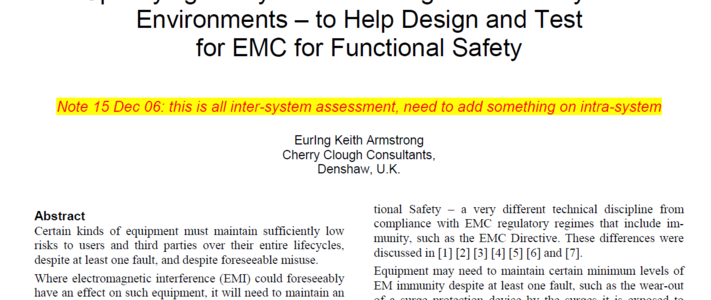 Specifying Lifecycle Electromagnetic and Physical Environments to Help Design and Test for EMC for Functional Safety image #1