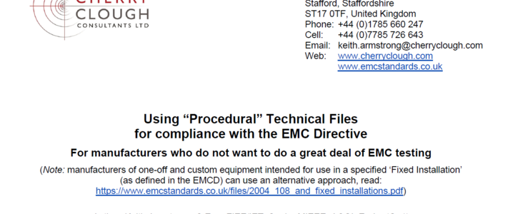 "Using ""Procedural"" Technical Files for compliance with the EMC Directive image #1"